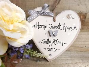 PERSONALISED  HOME SWEET HOME PLAQUE NEW HOME HOUSE WARMING GIFT HEART KEEPSAKE