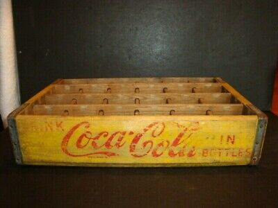 Drink COCA COLA 24 Bottle Wood Drink Crate Wooden SODA Carrier Richmond Virginia
