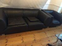 Contemporary Italian Leather Sofa + Arm chair