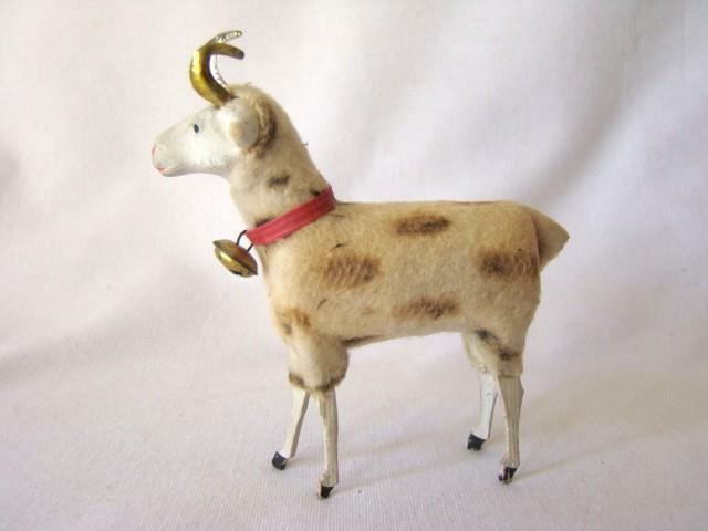 Antique Putz CHRISTMAS RAM SHEEP Bell & Horns Decoration Wooly Stick Leg Germany