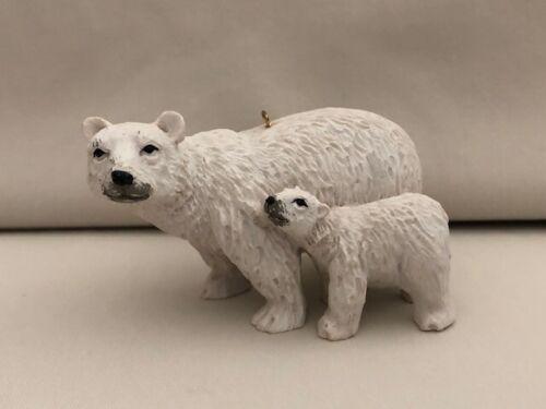POLAR BEAR Christmas Tree Ornament Parent and Baby Bear White