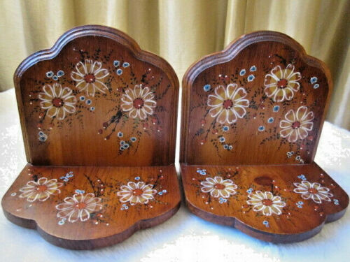VINTAGE ROUND TOP DARK WOOD BOOK ENDS WITH HAND PAINTED FLOWERS