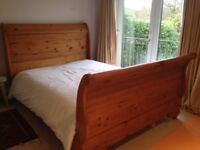 Antique pine wood sleigh bed - Double size