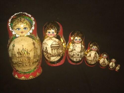 "7 Piece Russian Matryoshka Babushka Architecture Nesting Doll Signed Nadezhda 8"""