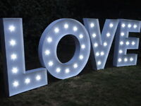 HIRE 4ft Large LED Light Up Love Letters For Hire Perfect for Weddings - SUSSEX