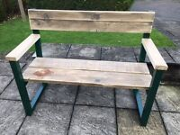 Bespoke prototype garden bench made from reclaimed wood