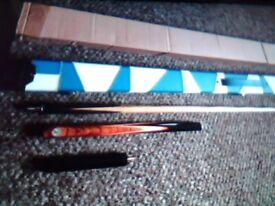 BRITANNIA TOP GRADE ASH 3.4 STEEL JOINTED SNOOKER CUE. X MINI BUTT X WHITE BLUE LEATHER CASE. .