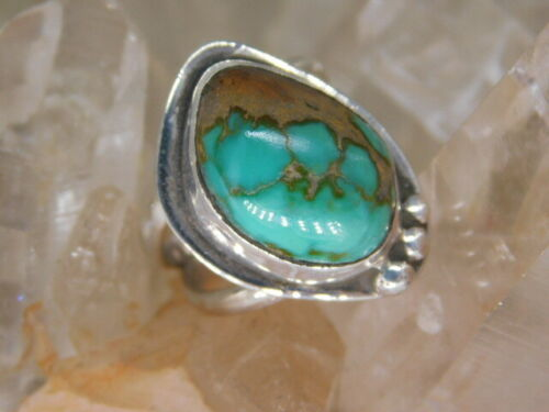 shiningstarforge  royston turquoise and sterling silver ring size 4