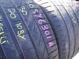 305/30/20 Pirelli P Zero TM, XL Porsche x2 A Pair, 6.3mm (168 High Road, Romford, RM6 6LU) Partworn