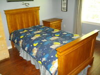 Solid wood twin bed & night table with memory foam mattress