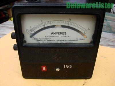 Vintage Sensitive Amperes Ac Volt Alternating Current University Meter 13660