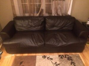 DARK BROWN SYNTHETIC LEATHER COUCH