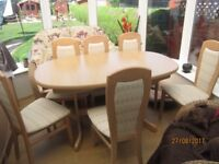 Maple coloured dining table with 6 chairs (Also available at extra cost matching High Board)