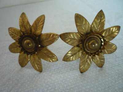 ** 2 ANTIQUE FRENCH LARGE GILT PICTURE COMPLETE HOOK NAIL & COVERS CACHE CLOUS