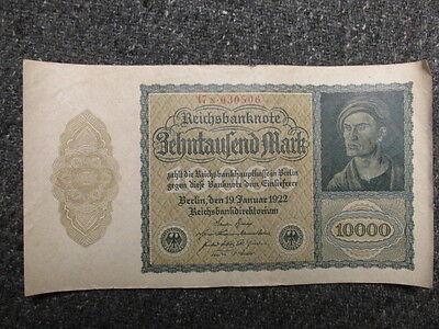 "WEIMAR ERA GERMAN 1922 10,000 MARK PAPER MONEY-KNOWN AS ""FRENCH VAMPIRE"" NOTE"
