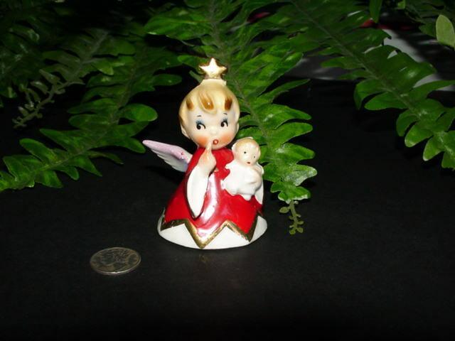 Vintage 1956 LEFTON HH80112 - Christmas Naughty ANGEL GIRL - bell - figurine