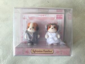 Calico Critters Rare Puppy Wedding Bride and Groom Set