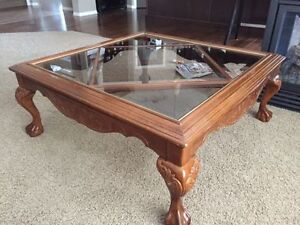 Mid Century Lovely coffee table, solid wood and dimmed glass ,