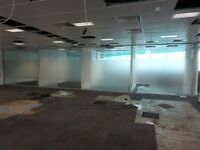 12.9 METRE WIDE ROOM DIVIDING CAVITY GLASS PARTITION WITH 24 GLASS PANELS £999