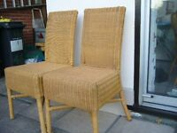 pair upright wicker dining chairs conservatory £3 the pair - Southbourne