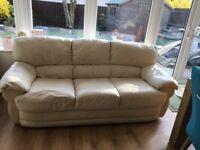 Cream leather sofa. Free.