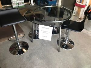 Glass Table and Bar Stools
