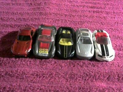Lot of 5:  Hot Wheels Porsche, BMW, Mercedes Matchbox Porsche, red, white, black