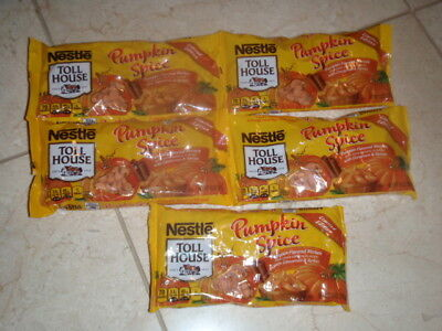 Nestle Toll House Pumpkin Spice Baking Morsels Chips Cinnamon Lot of 5 10oz Bags