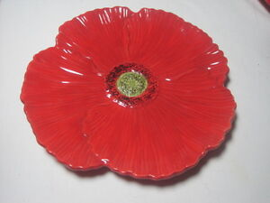 Ambiance Fleur Rouge Nanette Vacher Red Poppy Figural Salad Plate 8.25