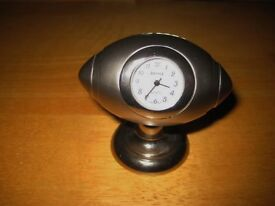 Miniture Novelty Desktop Clock In The Form Of A Rugby Ball. OFFERS WELCOME
