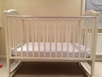 BEAUTIFUL Pali-Brand White Cot, Mattress, Changing Table/Dresser PLUS Lovely High-End Linens
