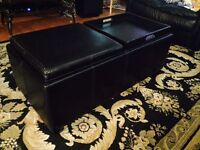 Leather double tray storage ottoman for sale