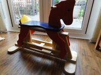 WOODEN ROCKING HORSE VGC