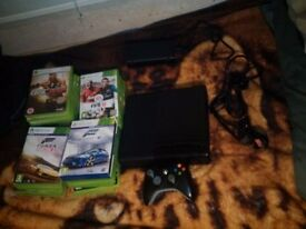 xbox 360 slim 250GB great condition comes with 26 games