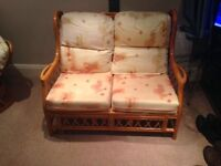 2 seater sofa , 2 * Rocker Chairs + Occasional table Cane Conservatory Furniture