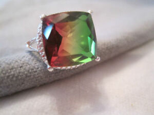 STUNNING RARE TO FIND WATERMELON STERLING SILVER RING