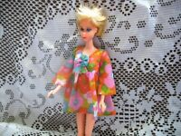 1453 BARBIE DOLL FLOWER WOWER 1970 DRESS,LIME T STRAP SHOES