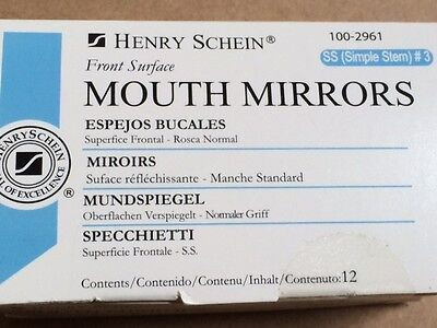 Dental Henry Schein Mouth Mirror Front Surface Simple Stem 3 12box Miltex
