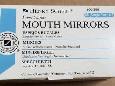 Dental Henry Schein  Mouth Mirror Front Surface Simple Stem  3  12 Box Miltex