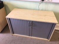 Beech Veneer Storage Cupboard With Sliding Doors