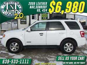 2008 FORD ESCAPE LIMITED-HEATED LEATHER-NAV-SUNROOF-V6-4X4!