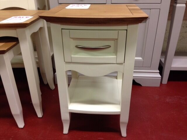New cream & oak bow fronted lamp side end table with drawer