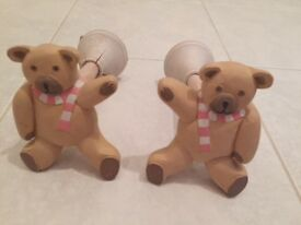 Two teddy decorative curtain hold-backs for a nursery, hand-made carved wood