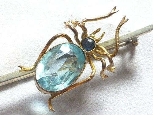 Stunning Antique Edwardian Gold Plated Spider Brooch