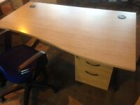 Assortment of oak office desks, bookcases, pedestals for business start up priced individually