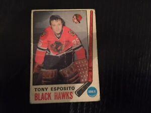 1969-70 O-Pee-Chee Tony Esposito rookie hockey card