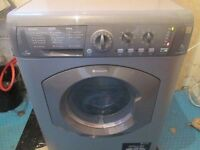 **SILVER HOTPOINT 7kg+5kg washer/dryer GOOD WORKING+FREE DELIVERY+VERY CLEAN+1 MONTH WARRANTY**