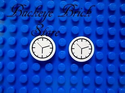 2  Lego Decorated Round Tiles    Clock Face Time Piece Pattern New