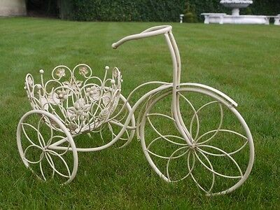 Cream Bicycle Planter Garden Ornament Shabby Accessory Bike Flowers Pot Plant