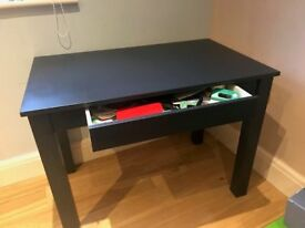 """Navy blue desk with draw to front. H 29"""", D 24"""", W 39"""". Good condition with a few faint scratches"""